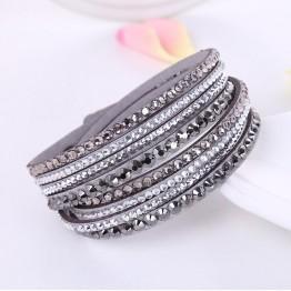 Bold Leather Multilayer Rhinestone Crystal Women Bracelet Jewelry