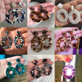 Attractive Oval Dangle Tortoiseshell Earrings Jewelry