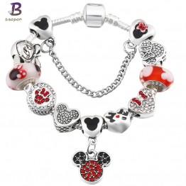 Adorable Mickey Enamel Beads Pandora Bracelet  Special Fashion Gift Jewelry Accessories