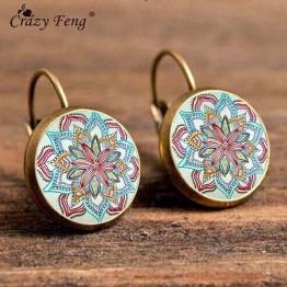 Boho VintageGeometric Pattern Round Earings Flower Drop Earrings Special Fashion Gift Jewelry Accessories