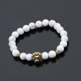 Bold Black Men's Lava Stone Beaded Lion Head Bracelets Special Fashion Gift Jewelry Accessories