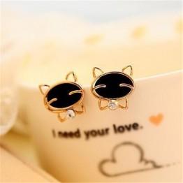 Cute Cat Lover Stud Rhinestone Women's  Earrings Special Fashion Gift Jewelry Accessories