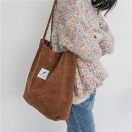 Adorable Corduroy Casual Shoulder Tote Handbag