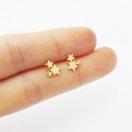 Cute Golden Stainless Steel Carnation Stud Animal Heart Leaves Cat Minimalist  Earrings