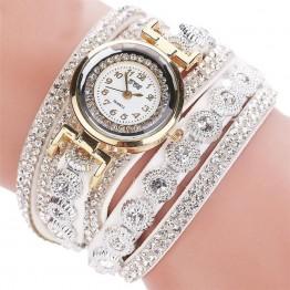 Beautiful Casual Alloy Quartz Rhinestone Leather Bracelet Wrist Watches Special Fashion Gift Jewelry Accessories