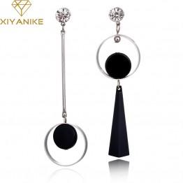 Exquisite Long Asymmetry Geometric Rhinestone Circle Acrylic Tassel Big Ear Stud Earrings Special Fashion Gift Jewelry Accessories